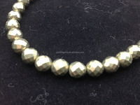 8mm round faceted pyrite loose beads for sales