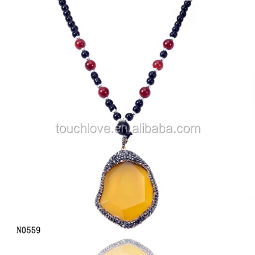 Yellow Color Druzzy Stone Material Jewellery Necklace ,Stone Necklace