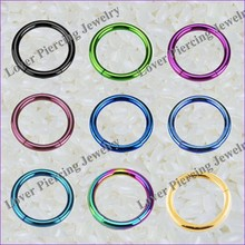 High Polish Titanium Anodized Design Stainless Steel Segment Clicker Nose Ring [SJ-017]