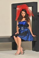 Taffeta dress with accessory