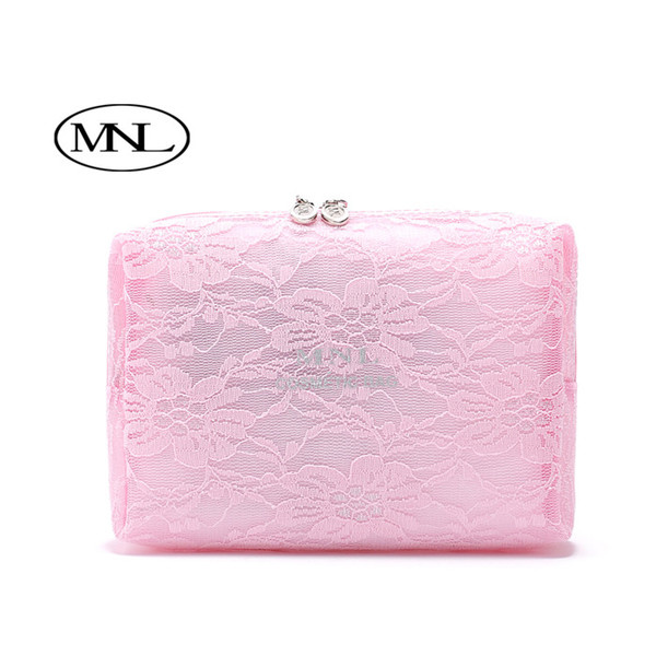 Chennai children were big black lace Clutch cosmetic bag pink square cosmetic bag
