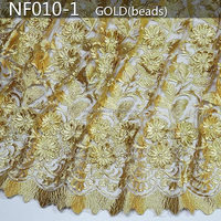 2015 NF010 gold tulle lace with beads french lace /french lace fabric