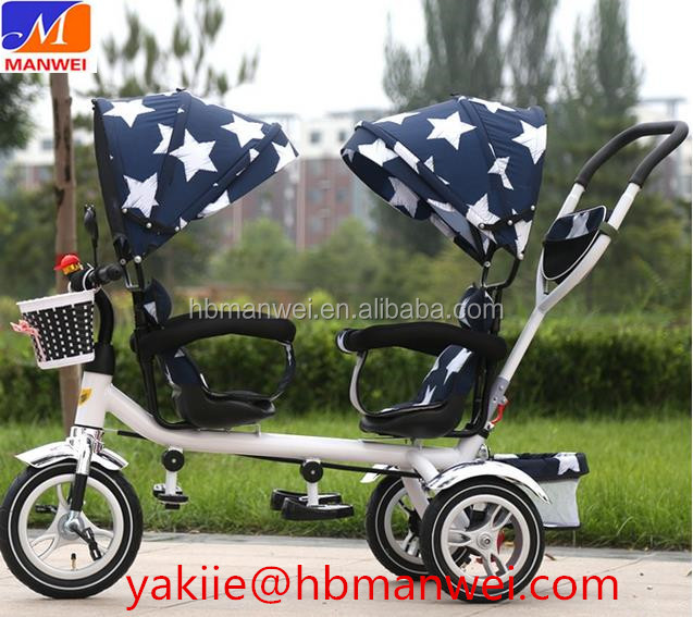 Luxury Two seats baby tricycle / children bike for twins smart trike