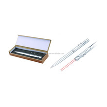Silver metal laser pen with wood box laser pen New design good quality pen gifts