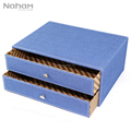 Naham Denim Style Office Desk Organizer 2-layer Storage Drawer Box