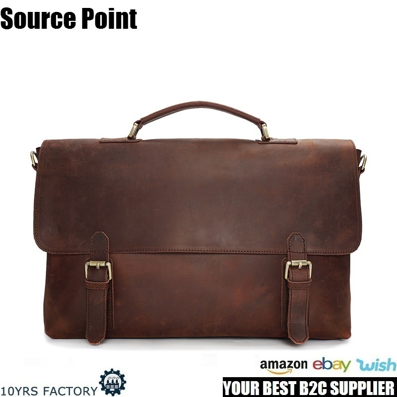 YD-009A Italian luxury designer hand made full grain crazy horse genuine leather laptop briefcase messenger bag for men