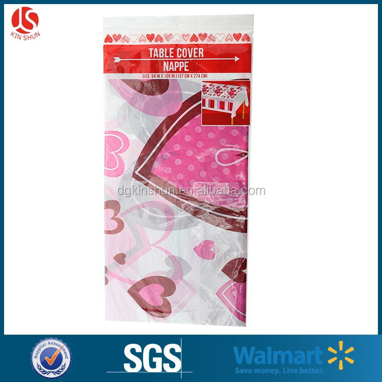2015 Valentines day custom printed 54*108 inches plastic tablecloth for table decoration