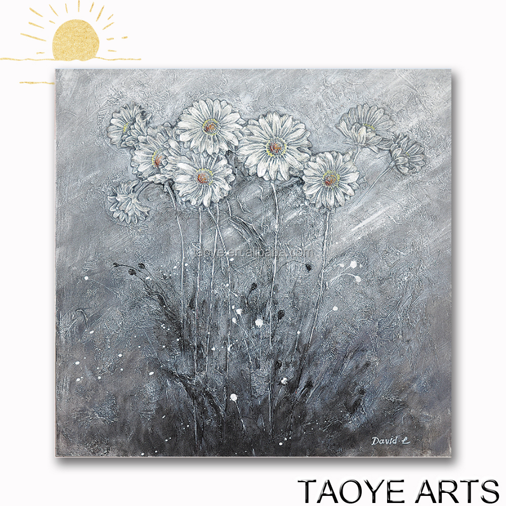 High quality White flower oil painting on canvas daisies flower oil painting