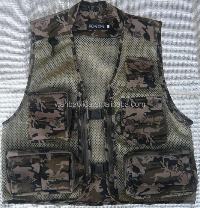 Wholesale high quality cotton meterial camo fishing vest