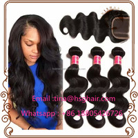 Cheap wet and wavy human hair brazilian virgin hair bundles with lace closure