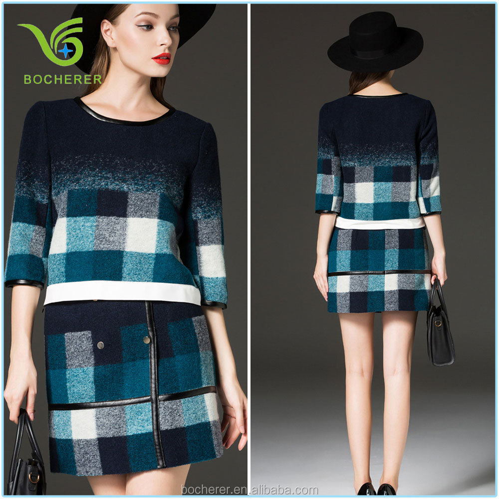 Ladies short skirt suits for winter grid pattern and round collar
