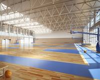 Badminton Court Sports Pvc Flooring With Uv Coating