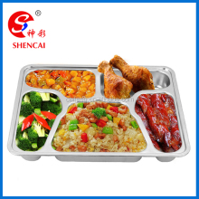 Stainless steel serving trays with 5 dividers compartment lunch box