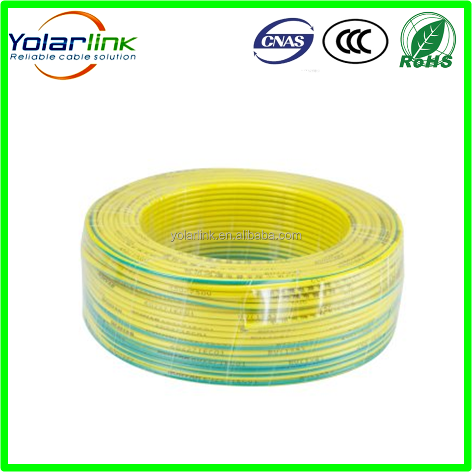 earth wire BV4mm2 Pure Copper Conductor PVC insulated earth cable wire