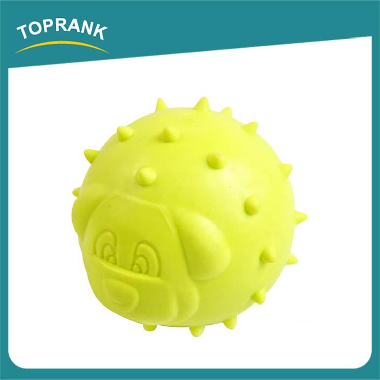 Hot selling custom color TPR dog face printed thorn ball for pet dog