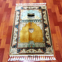 miniature persian hand knotted silk mosque prayer small carpet rugs
