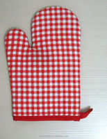 2015 hot sale 100% cotton kitchen glove/oven mitt for promotion-red and white plaid