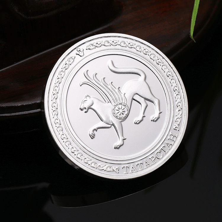 Custom zinc alloy die struck metal silver 3D zodiac souvenir coin with gift box