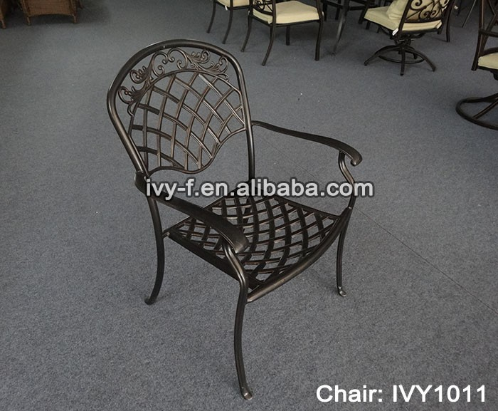 Restaurant Patio Chairs Cast Aluminum Frame Chair Stackable Dining Metal  Chair With Armrest Rustproof Floral Design #ivy1011   Buy Patio Garden Cast  ...