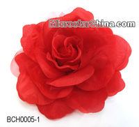 Handmade fabrics flower red rose hair clip