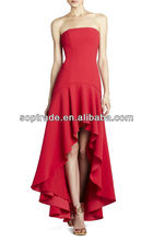 New arrival 2013 strapless handmade red high low summer sexy alibaba wedding dress