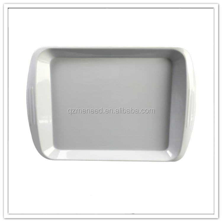 White solid color melamine coffee servicing tray/plastic trays