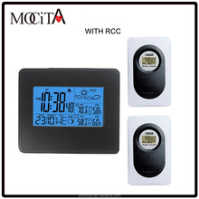 Auto RCC weather station clock with blue backlight,Thermo-hygrometer Digital Weather Station Clock with 2 Sensors