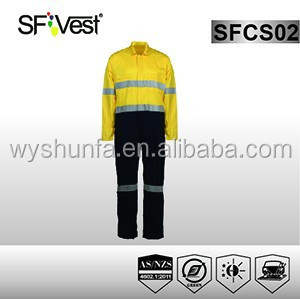 2015 hot new products reflective safety overall workwear coverall industrial safety custom made men's overalls