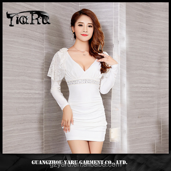 2017 new design club wear sexy girl bodycon casual lace V neck short dress guangzhou manufacturer