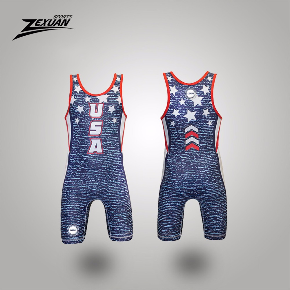 Lycra cheap fully sublimated usa flag blue&red wrestling singlet
