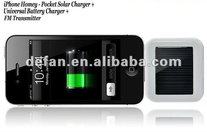 Universal charger for iPhone 5 smart phone & FM transmitter by portable solar power