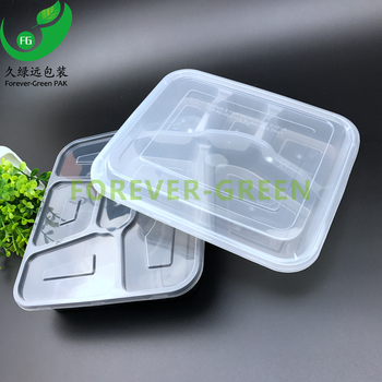 Transparent PP plastic 3,4,5 compartments food container with lid