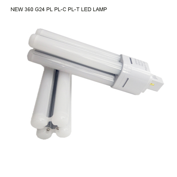 High power factory ce rohs 360 g24 base led pl 7w 6400k lamp