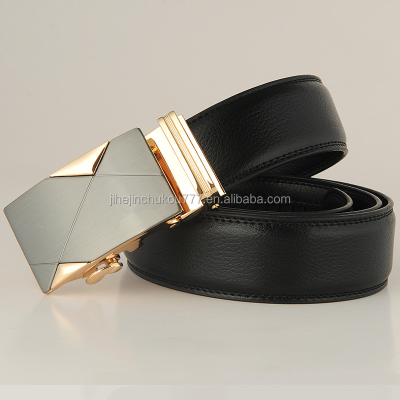 Hot products western style alloy automatic buckle cow hide belt unisex genuine leather belts