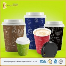 Single Polylined Paper Water Cups with flat lids