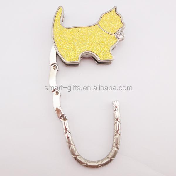 Folding dog shape handbag purse hook