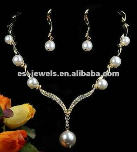 christmas gift fashion silver plated alloy freshwater pearl necklace and earring jewelry set