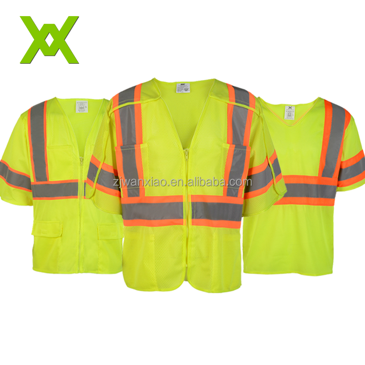 ANSI class 2 pocket short sleeve reflective mesh safety vest for adult www.zjwanxiao.com