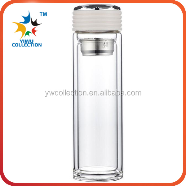 2016 Festival gifts office cool drinking double wall tea glass water bottles with ss infuser and lid