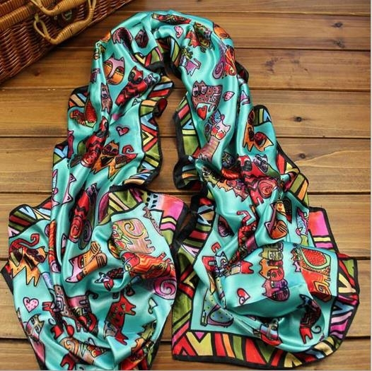 Spring/summer lovely ladies infinity scarf girls cat printed scarves