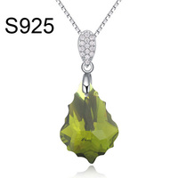 Free shipping 925 leaf shape Made With Swarovski Element crystal necklace jewelry silver