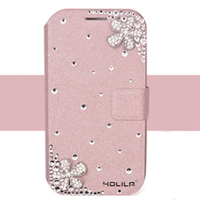 Fashion glitter rhinestone silk flip leather phone case,real leather mobile back cover for iPhone5 5S