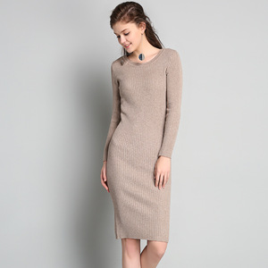 Lady's Fashion Knit Sexy Slim Fit Long Dress for Spring and Autumn