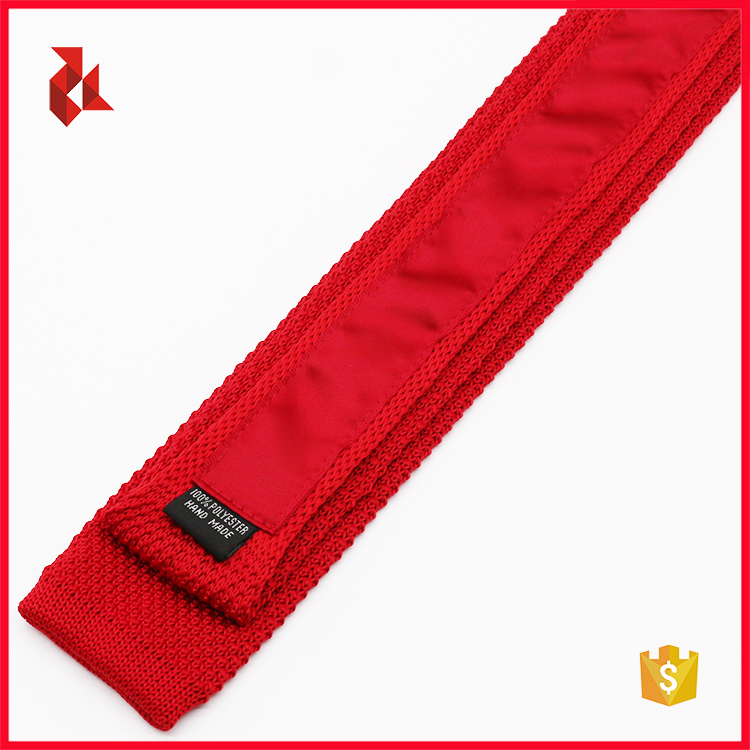 Fashion Wedding Polyester Red Solid Knitted Ties