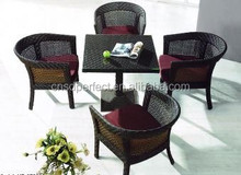 china supplier outdoor pe rattan furniture round glass folding dining table