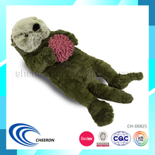 Jumbo soft plush lying otter animals toys with ball