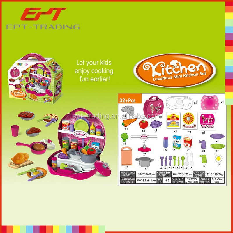 Hot selling miniature toy kitchen play set box funny kid kitchen set for sale