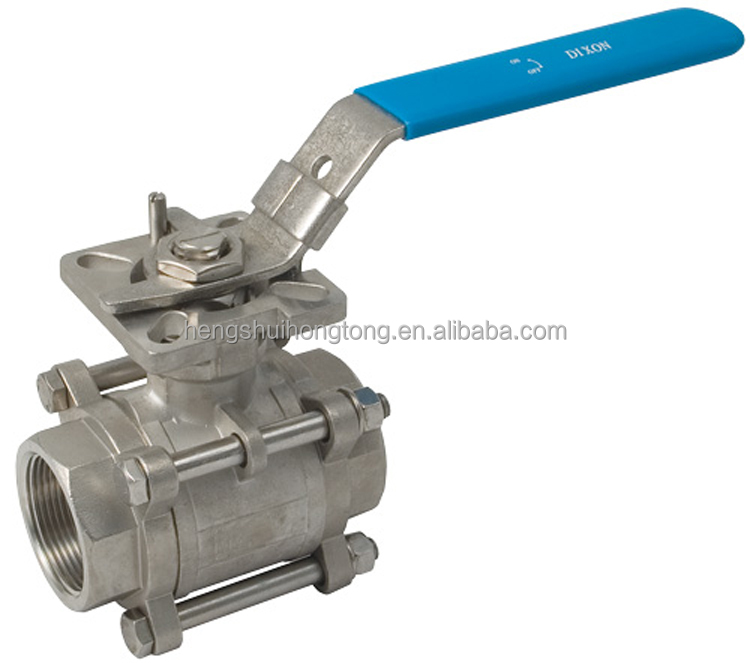 full port stainless steel female threaded end 3pc ball valve with direct mounting pad1000 WOG