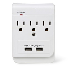 3 AC way Socket Wall Mount Surge Protector with Dual USB Charging Port Wall Charger 2.1A usb power station