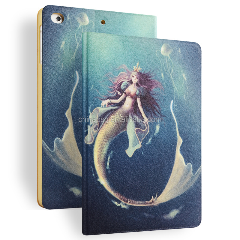 Color Printing Folio Stand PU Leather Case for iPad, Smart Flip Cover Case for iPad2 3 4 (Mermaid)